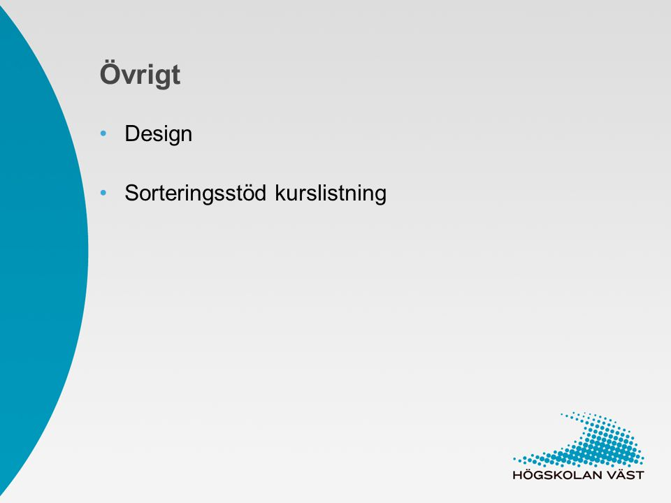 Övrigt Design Sorteringsstöd kurslistning