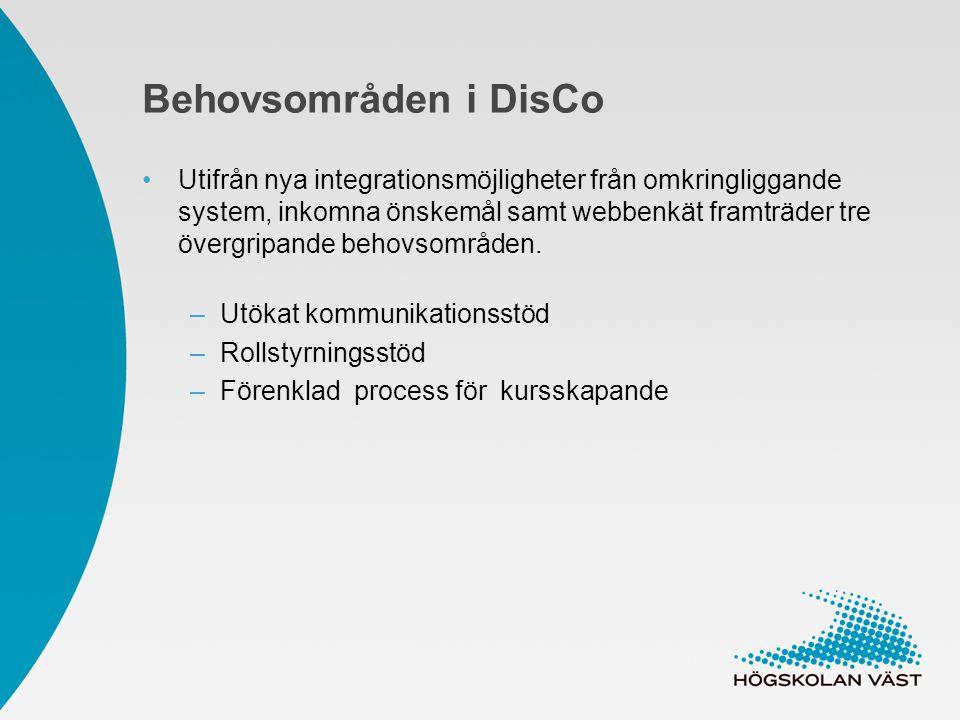 Behovsområden i DisCo Utifrån nya integrationsmöjligheter från omkringliggande system, inkomna önskemål samt webbenkät framträder tre övergripande behovsområden.
