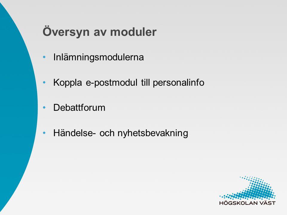 Översyn av moduler Inlämningsmodulerna Koppla e-postmodul till personalinfo Debattforum Händelse- och nyhetsbevakning