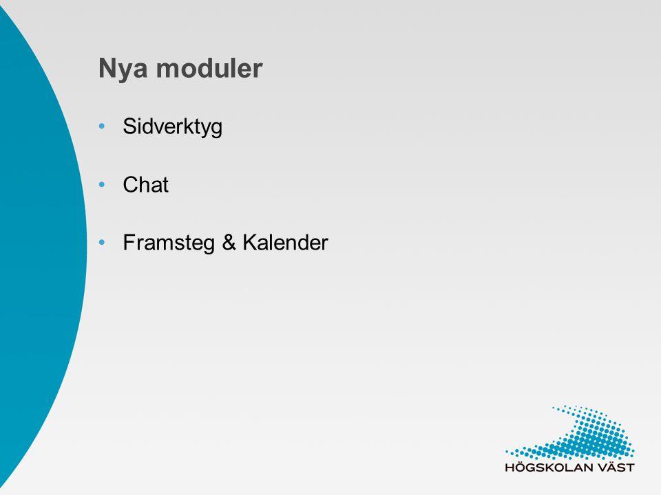 Nya moduler Sidverktyg Chat Framsteg & Kalender