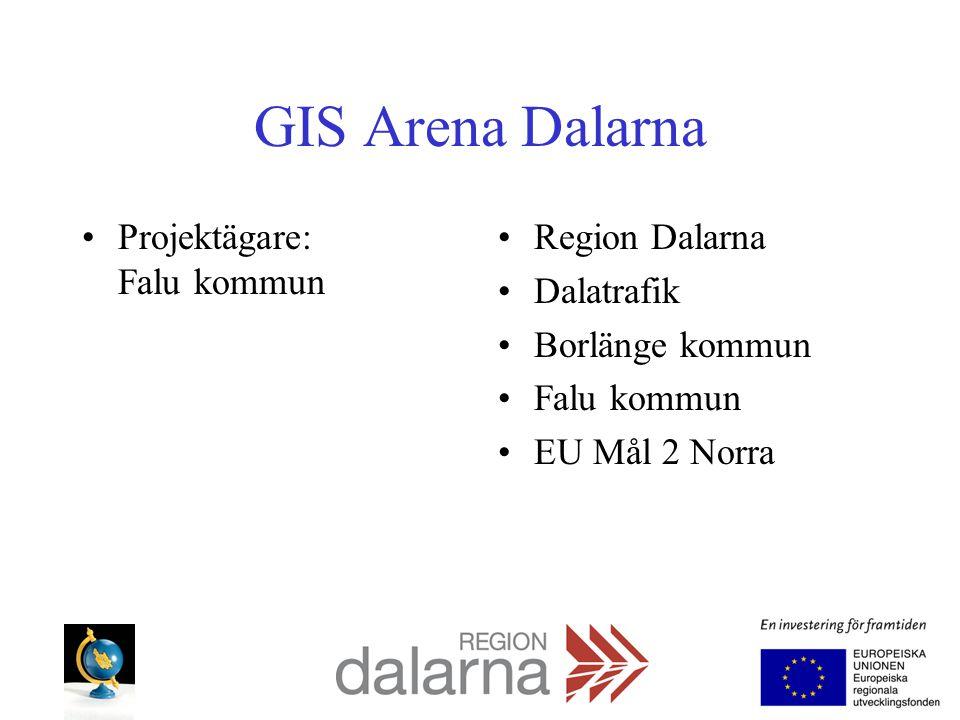 GIS Arena Dalarna Projektägare: Falu kommun Region Dalarna Dalatrafik Borlänge kommun Falu kommun EU Mål 2 Norra