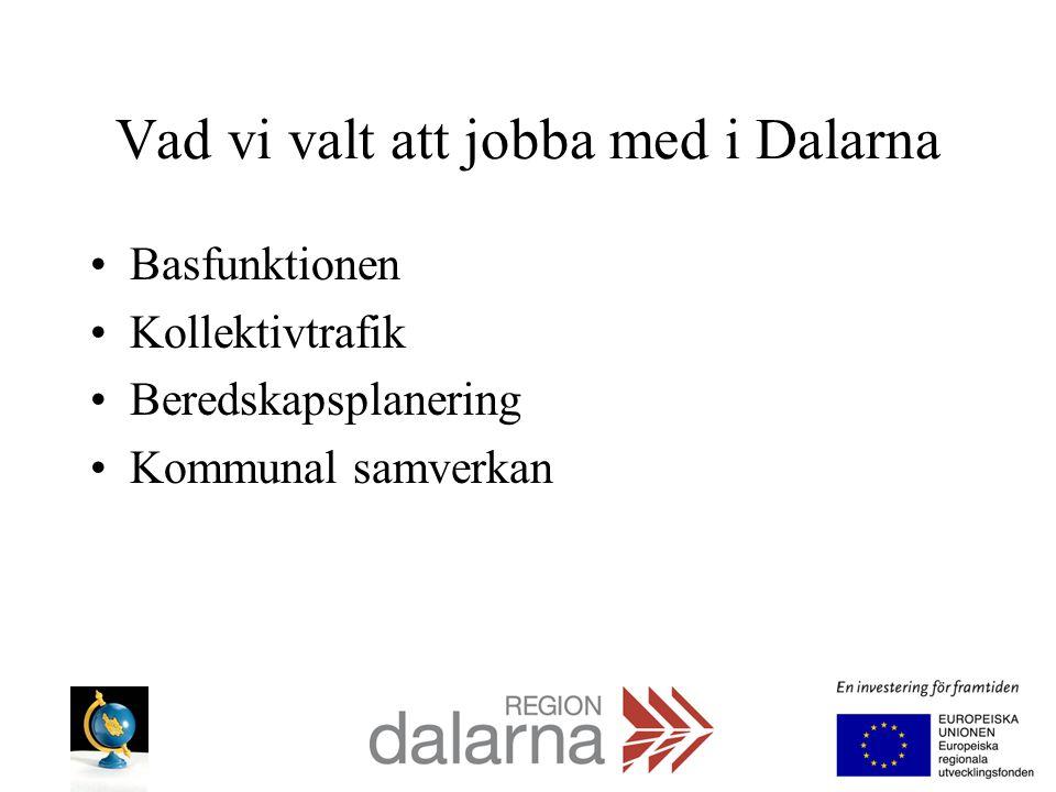 Vad vi valt att jobba med i Dalarna Basfunktionen Kollektivtrafik Beredskapsplanering Kommunal samverkan