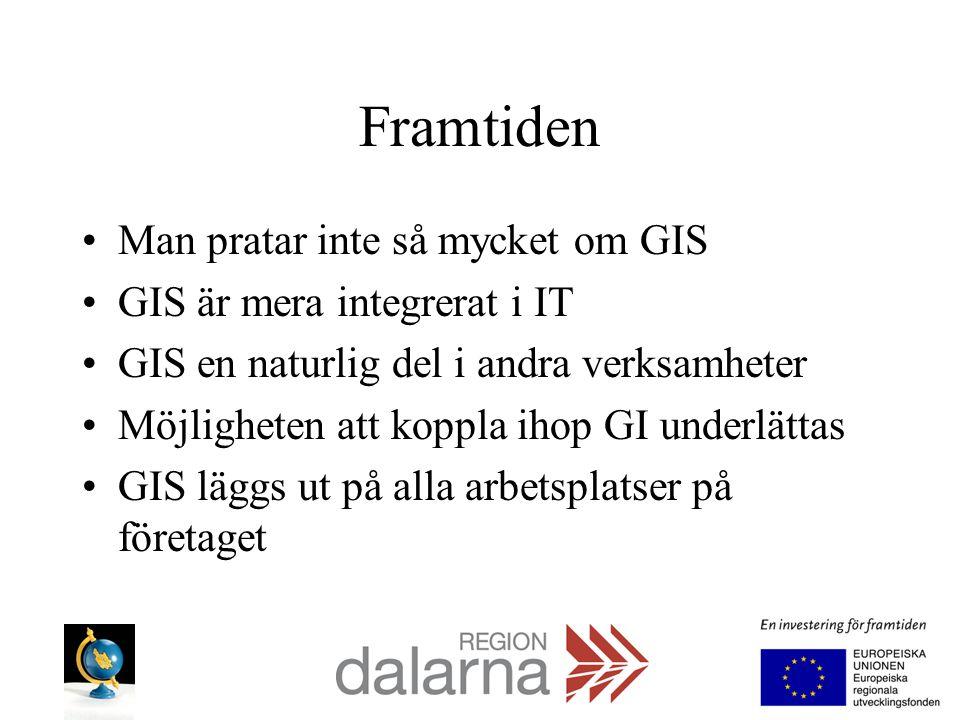 Framtiden Man pratar inte så mycket om GIS GIS är mera integrerat i IT GIS en naturlig del i andra verksamheter Möjligheten att koppla ihop GI underlä
