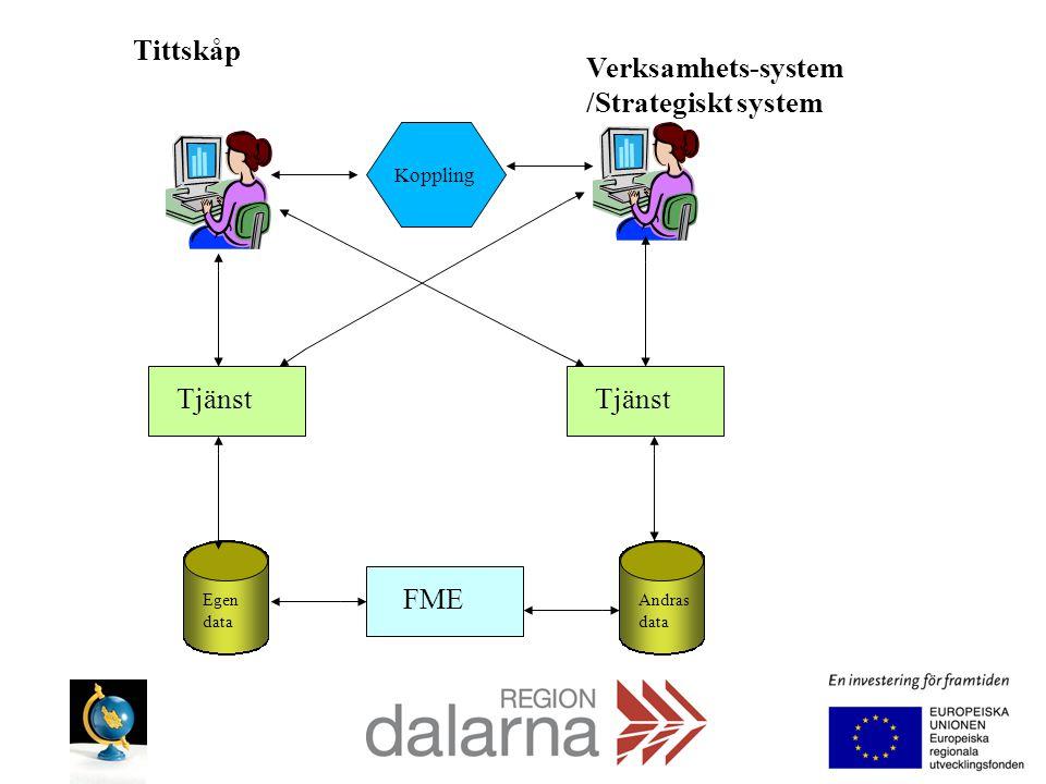 Tittskåp Verksamhets-system /Strategiskt system Tjänst Egen data Andras data FME Koppling