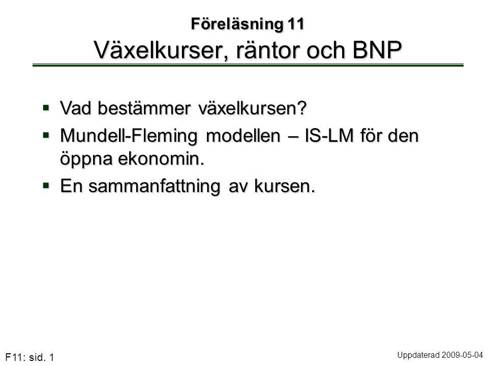 F11: sid. 1 Föreläsning 11 Växelkurser, räntor och BNP  Vad bestämmer växelkursen?  Mundell-Fleming modellen – IS-LM för den öppna ekonomin.  En sa