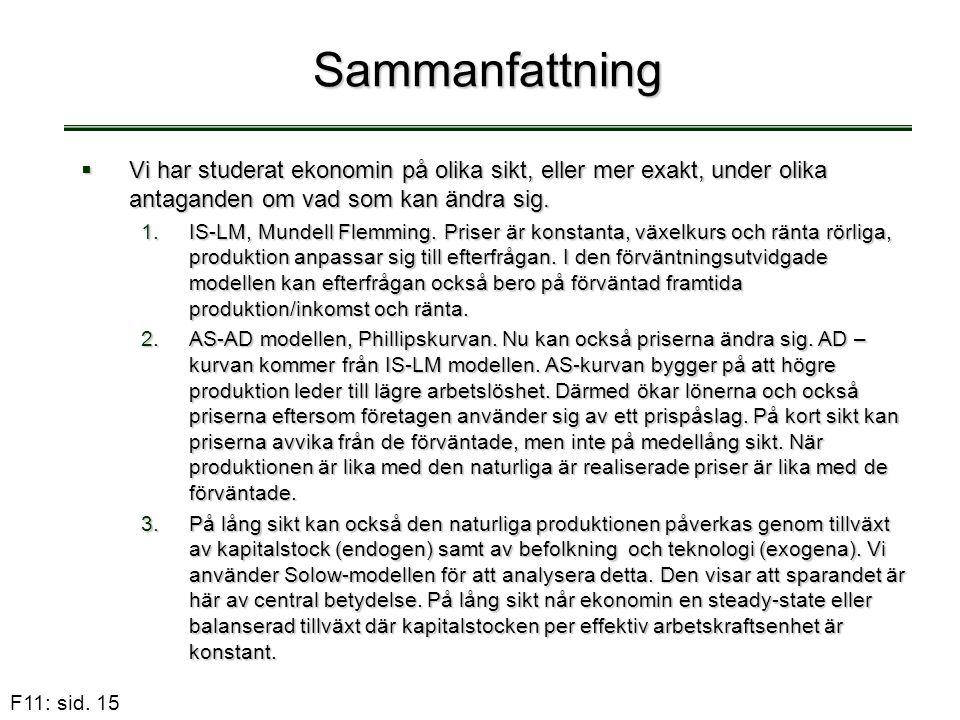 F11: sid. 15 Sammanfattning  Vi har studerat ekonomin på olika sikt, eller mer exakt, under olika antaganden om vad som kan ändra sig. 1.IS-LM, Munde