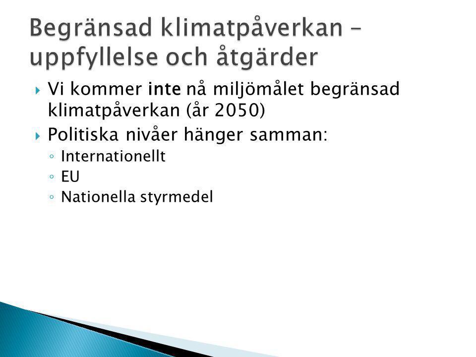  Vi kommer inte nå miljömålet begränsad klimatpåverkan (år 2050)  Politiska nivåer hänger samman: ◦ Internationellt ◦ EU ◦ Nationella styrmedel