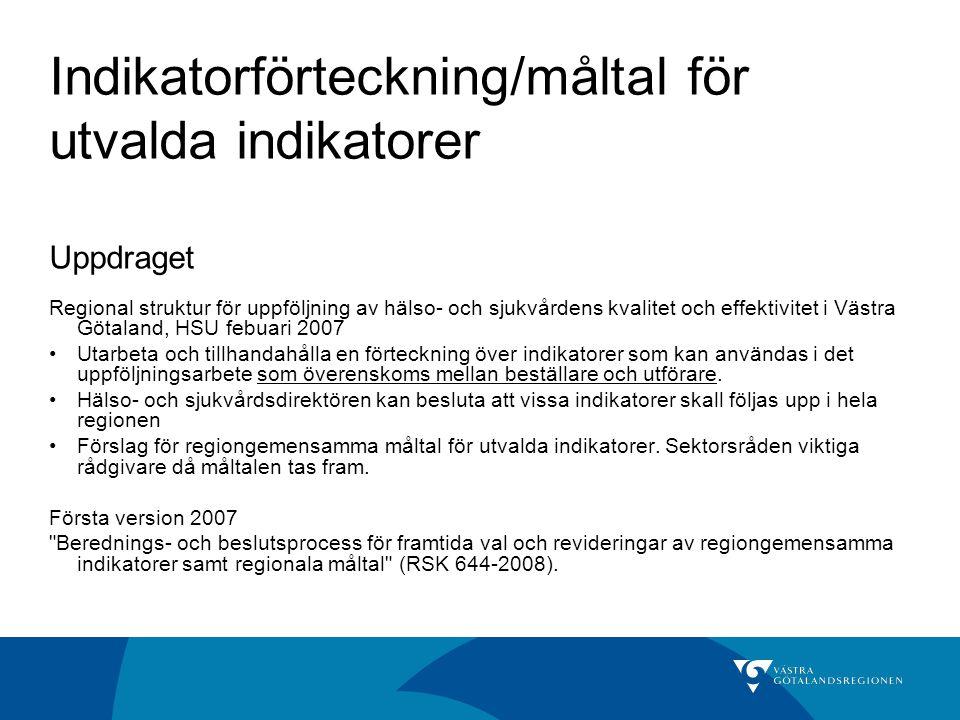 Indikatorförteckning/måltal för utvalda indikatorer Uppdraget Regional struktur för uppföljning av hälso- och sjukvårdens kvalitet och effektivitet i Västra Götaland, HSU febuari 2007 Utarbeta och tillhandahålla en förteckning över indikatorer som kan användas i det uppföljningsarbete som överenskoms mellan beställare och utförare.