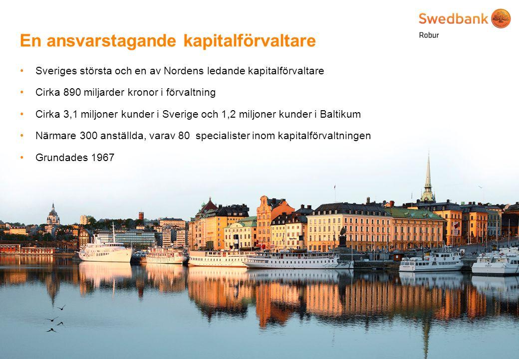 © Swedbank Robur Pionjär inom hållbara investeringar 3 30 - 300 - 7