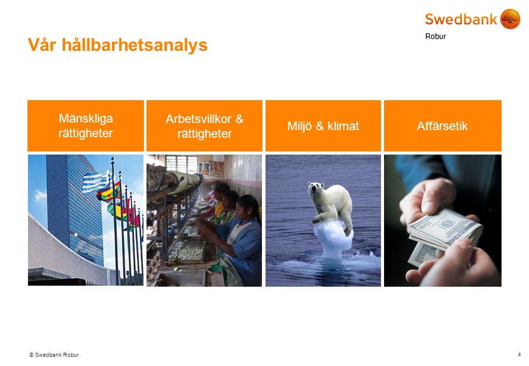 © Swedbank Robur Vår hållbarhetsanalys 4 Mänskliga rättigheter Arbetsvillkor & rättigheter Miljö & klimat Affärsetik