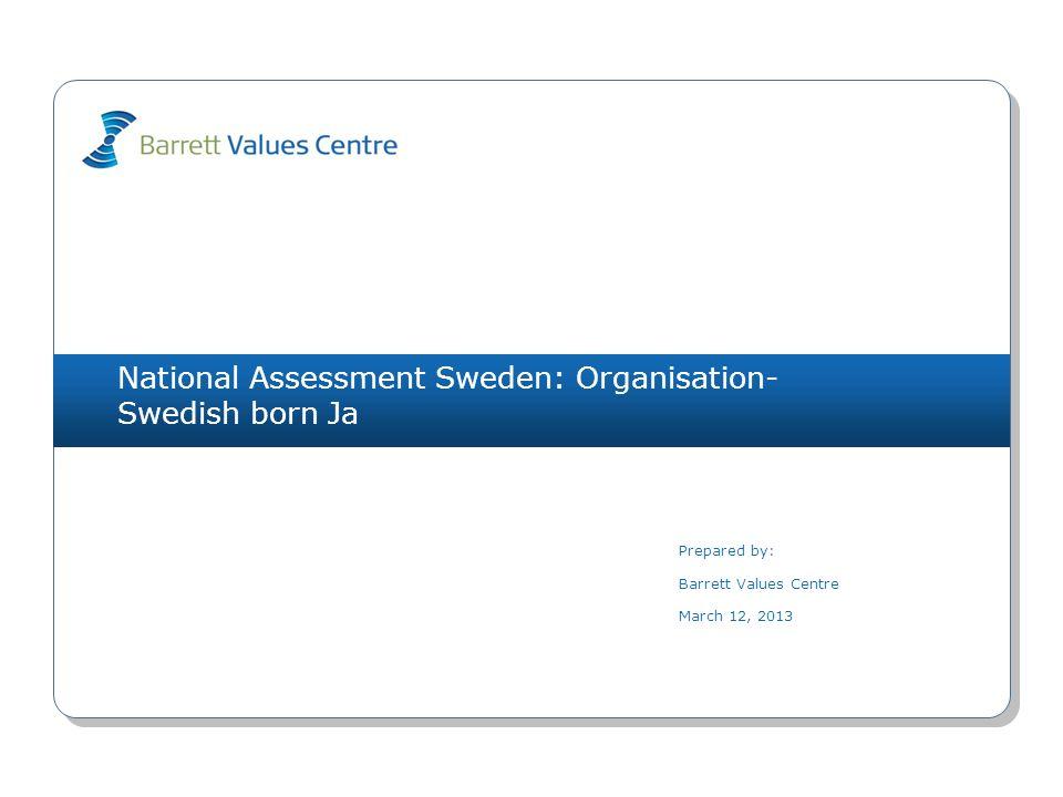 National Assessment Sweden: Organisation- Swedish born Ja Prepared by: Barrett Values Centre March 12, 2013