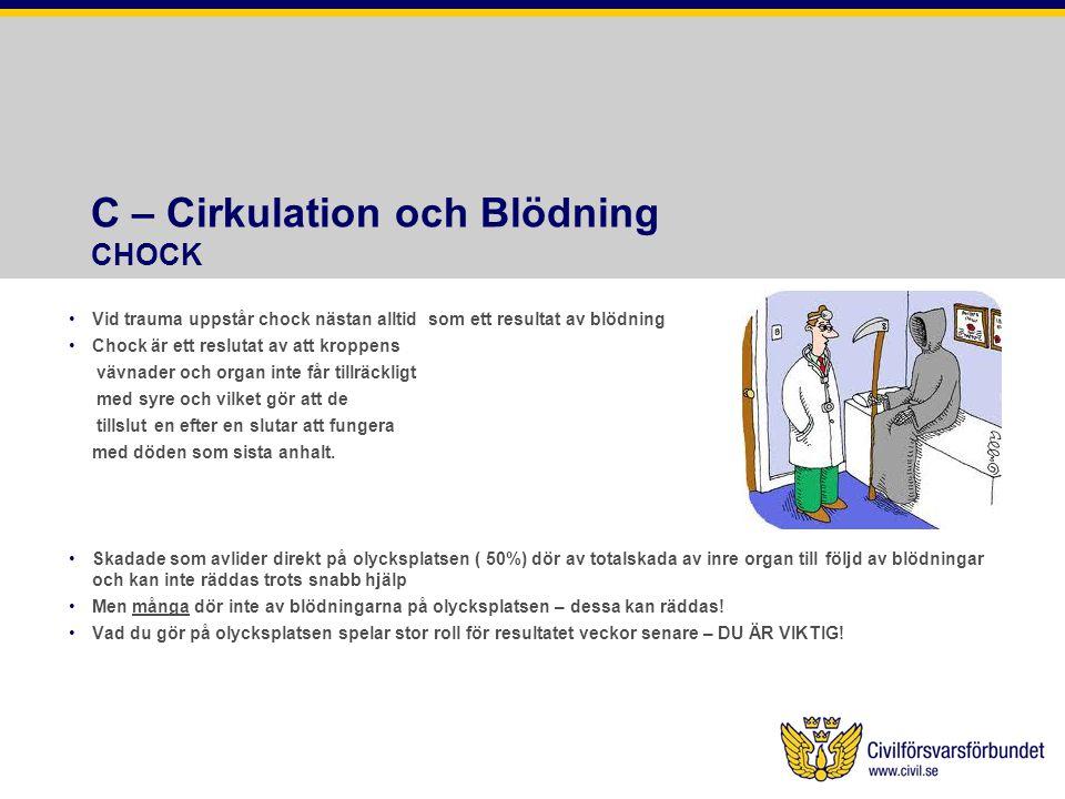 C – Cirkulation och Blödning CHOCK Vid trauma uppstår chock nästan alltid som ett resultat av blödning Chock är ett reslutat av att kroppens vävnader