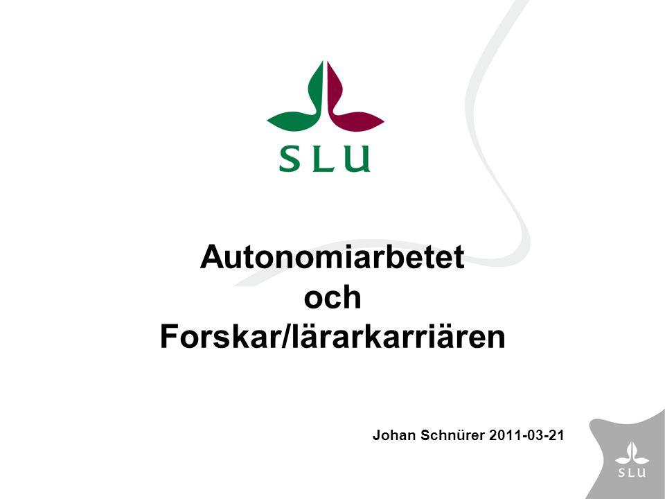 Arbetsgrupp Forskar/lärarkarriären (karriärspår) Utgångspunkter: Den ändrade lagstiftningen nödvändiggör en översyn av tjänste- strukturen vid SLU samt ställningstagande till befordringsfrågan.