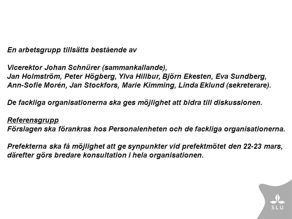 En arbetsgrupp tillsätts bestående av Vicerektor Johan Schnürer (sammankallande), Jan Holmström, Peter Högberg, Ylva Hillbur, Björn Ekesten, Eva Sundberg, Ann-Sofie Morén, Jan Stockfors, Marie Kimming, Linda Eklund (sekreterare).