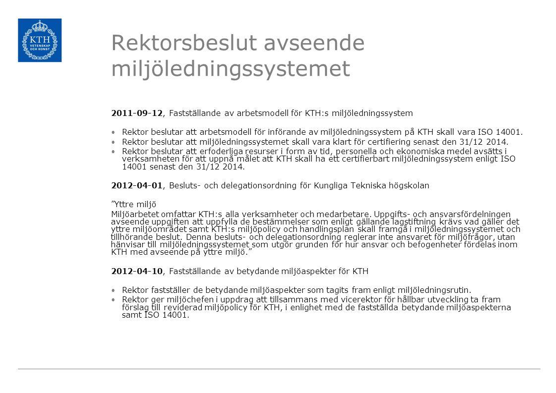 Rektorsbeslut avseende miljöledningssystemet 2011-09-12, Fastställande av arbetsmodell för KTH:s miljöledningssystem Rektor beslutar att arbetsmodell