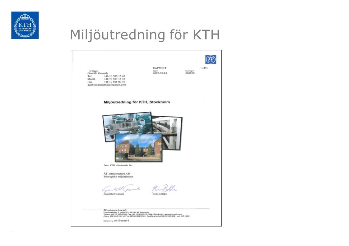 KTH:s betydande miljöaspekter Energianvändning Transporter Användning av kemiska produkter Upphandling och användning av varor och tjänster Avfall Utbildning Forskning Samverkan