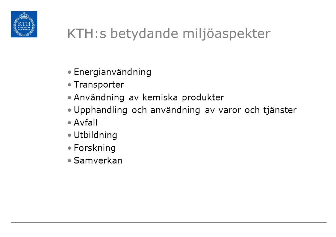 KTH:s betydande miljöaspekter Energianvändning Transporter Användning av kemiska produkter Upphandling och användning av varor och tjänster Avfall Utb