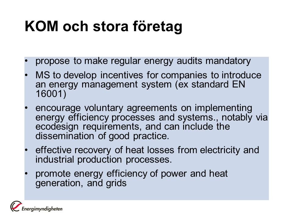 KOM och stora företag propose to make regular energy audits mandatory MS to develop incentives for companies to introduce an energy management system (ex standard EN 16001) encourage voluntary agreements on implementing energy efficiency processes and systems., notably via ecodesign requirements, and can include the dissemination of good practice.