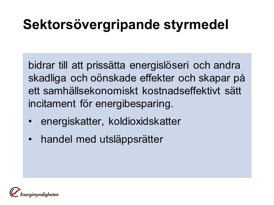 Sektorsövergripande styrmedel bidrar till att prissätta energislöseri och andra skadliga och oönskade effekter och skapar på ett samhällsekonomiskt kostnadseffektivt sätt incitament för energibesparing.