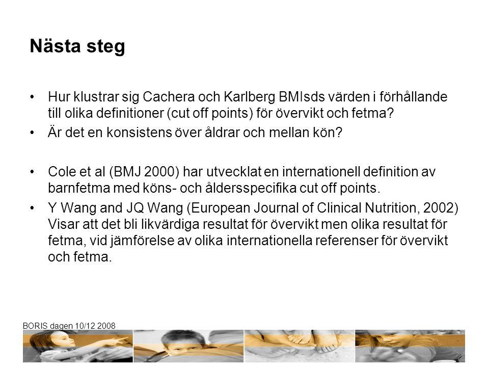 BORIS dagen 10/12 2008 Nästa steg Hur klustrar sig Cachera och Karlberg BMIsds värden i förhållande till olika definitioner (cut off points) för överv
