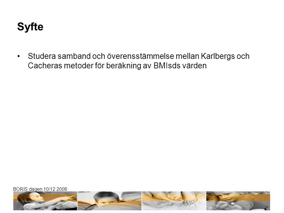 BORIS dagen 10/12 2008 Barn och metod Data taget från STOPP studien Longitudinell interventionsstudie (kost och fysisk aktivitet) Åren 2001-2005 3135 barn i årskurs 1-4 varav 49% flickor Från 10 olika skolor Ålder 7.5 år (1.3) Beräkning av BMIsds med hjälp av Karlbergs respektive Cacheras metod (olika studiepopulationer) Studera relation och överensstämmelse Skatta en omräkningsformel