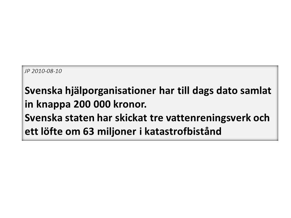 JP 2010-08-10 Svenska hjälporganisationer har till dags dato samlat in knappa 200 000 kronor. Svenska staten har skickat tre vattenreningsverk och ett