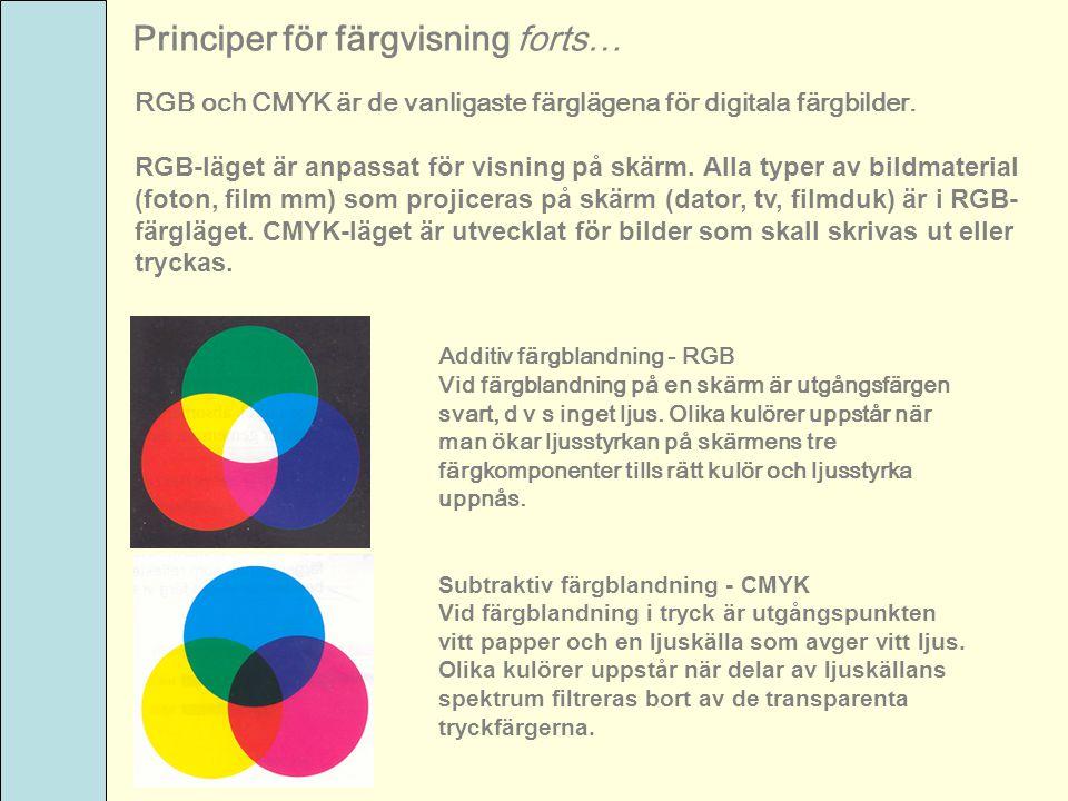 RGB och CMYK är de vanligaste färglägena för digitala färgbilder. RGB-läget är anpassat för visning på skärm. Alla typer av bildmaterial (foton, film