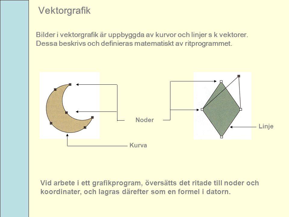Vektorgrafik Bilder i vektorgrafik är uppbyggda av kurvor och linjer s k vektorer. Dessa beskrivs och definieras matematiskt av ritprogrammet. Noder K