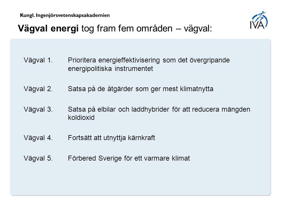 Vägval energi tog fram fem områden – vägval: Vägval 1. Prioritera energieffektivisering som det övergripande energipolitiska instrumentet Vägval 2. Sa