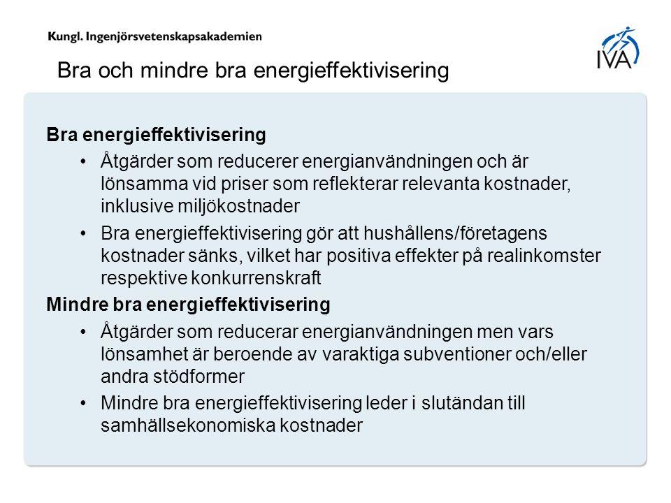 Bra och mindre bra energieffektivisering Bra energieffektivisering Åtgärder som reducerer energianvändningen och är lönsamma vid priser som reflekterar relevanta kostnader, inklusive miljökostnader Bra energieffektivisering gör att hushållens/företagens kostnader sänks, vilket har positiva effekter på realinkomster respektive konkurrenskraft Mindre bra energieffektivisering Åtgärder som reducerar energianvändningen men vars lönsamhet är beroende av varaktiga subventioner och/eller andra stödformer Mindre bra energieffektivisering leder i slutändan till samhällsekonomiska kostnader