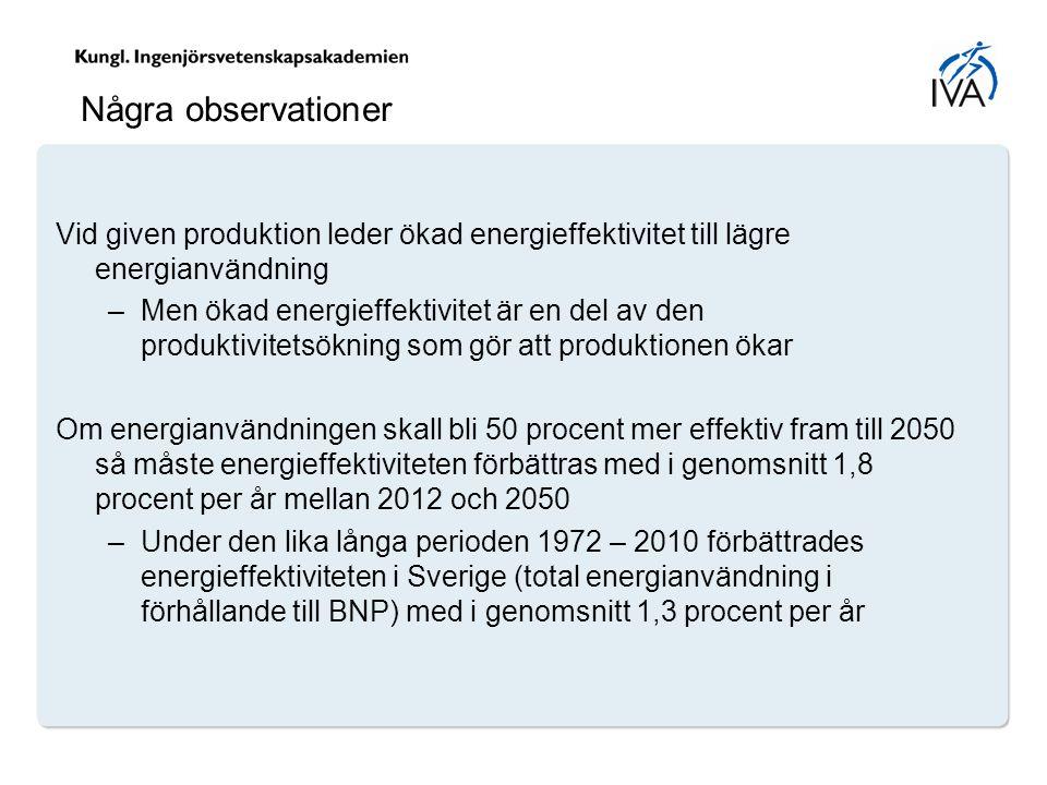 Några observationer Vid given produktion leder ökad energieffektivitet till lägre energianvändning –Men ökad energieffektivitet är en del av den produktivitetsökning som gör att produktionen ökar Om energianvändningen skall bli 50 procent mer effektiv fram till 2050 så måste energieffektiviteten förbättras med i genomsnitt 1,8 procent per år mellan 2012 och 2050 –Under den lika långa perioden 1972 – 2010 förbättrades energieffektiviteten i Sverige (total energianvändning i förhållande till BNP) med i genomsnitt 1,3 procent per år