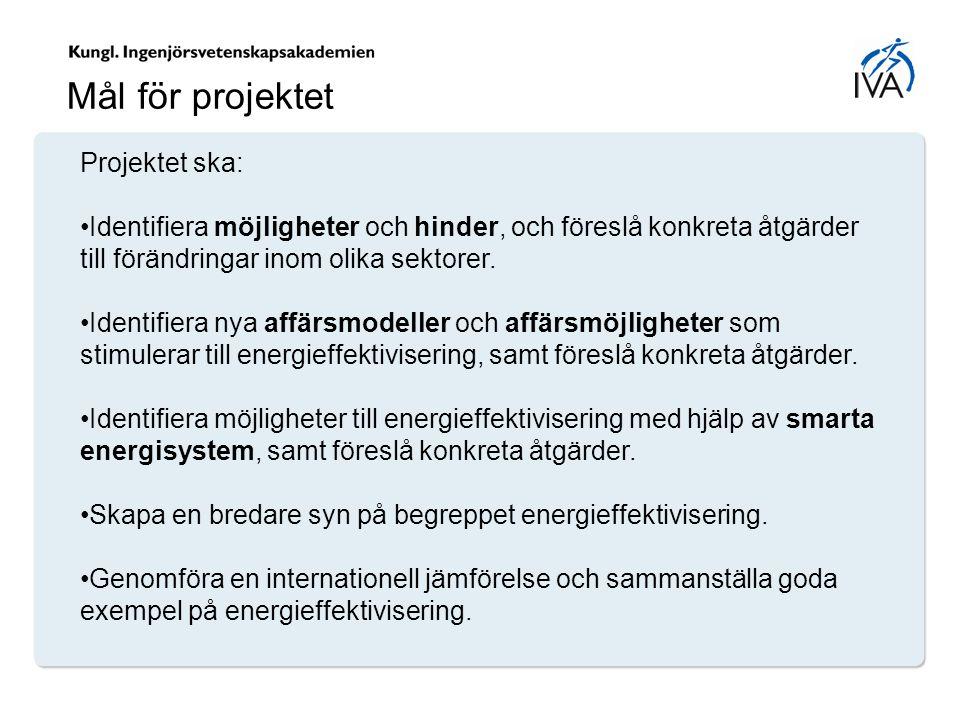 Projektet ska: Identifiera möjligheter och hinder, och föreslå konkreta åtgärder till förändringar inom olika sektorer. Identifiera nya affärsmodeller