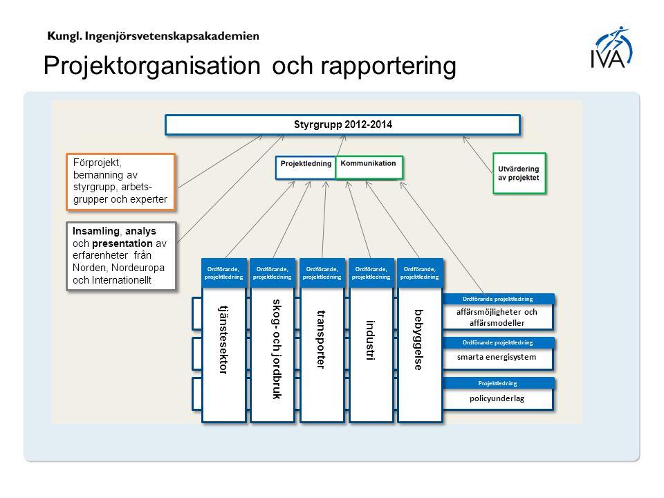 Ordförande projektledning Projektorganisation och rapportering Styrgrupp 2012-2014 Förprojekt, bemanning av styrgrupp, arbets- grupper och experter In
