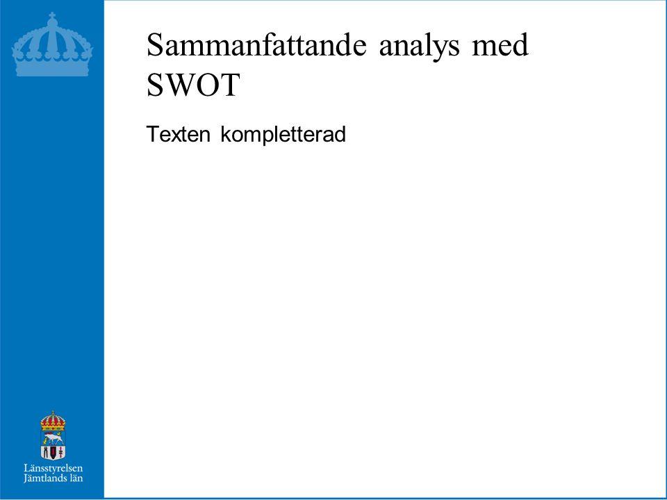 Sammanfattande analys med SWOT Texten kompletterad