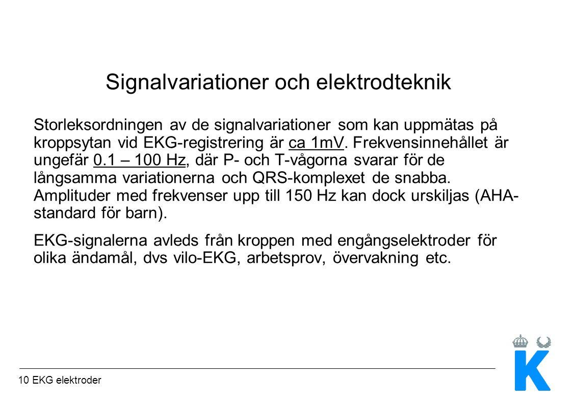 10 EKG elektroder Signalvariationer och elektrodteknik Storleksordningen av de signalvariationer som kan uppmätas på kroppsytan vid EKG-registrering är ca 1mV.