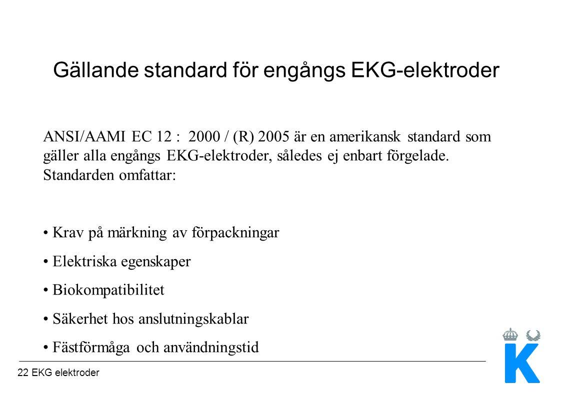 22 EKG elektroder Gällande standard för engångs EKG-elektroder ANSI/AAMI EC 12 : 2000 / (R) 2005 är en amerikansk standard som gäller alla engångs EKG-elektroder, således ej enbart förgelade.
