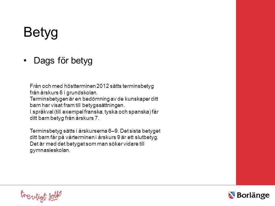 Betyg Dags för betyg Från och med höstterminen 2012 sätts terminsbetyg från årskurs 6 i grundskolan. Terminsbetygen är en bedömning av de kunskaper di