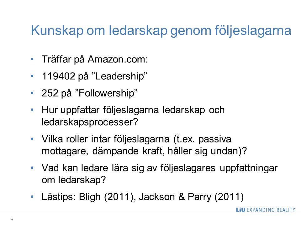 """Kunskap om ledarskap genom följeslagarna Träffar på Amazon.com: 119402 på """"Leadership"""" 252 på """"Followership"""" Hur uppfattar följeslagarna ledarskap och"""