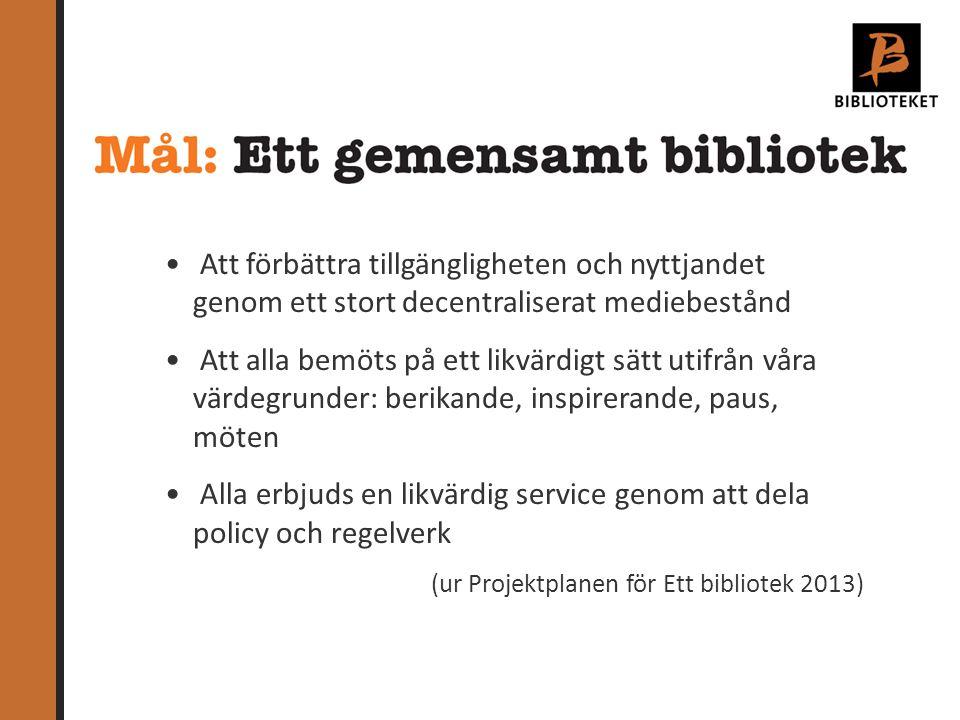 Upphandling av system och portal Implementering av systemet Bibliografisk service Medier Regler, avgifter & policy Ny portal Bibblo.se Kommunikation Transporter 6 delprojekt