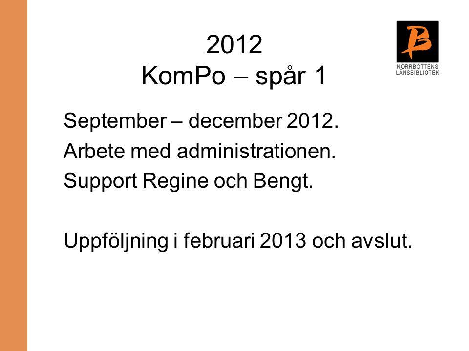 2012 KomPo – spår 1 September – december 2012. Arbete med administrationen. Support Regine och Bengt. Uppföljning i februari 2013 och avslut.
