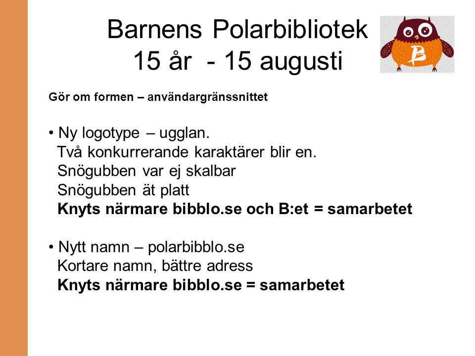 Barnens Polarbibliotek 15 år - 15 augusti Gör om formen – användargränssnittet Ny logotype – ugglan. Två konkurrerande karaktärer blir en. Snögubben v