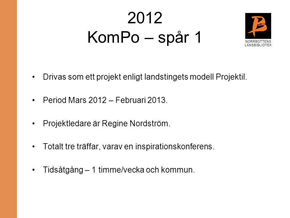 2012 KomPo – spår 1 Drivas som ett projekt enligt landstingets modell Projektil. Period Mars 2012 – Februari 2013. Projektledare är Regine Nordström.