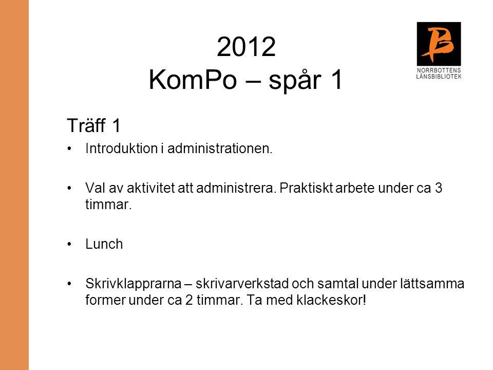2012 KomPo – spår 1 Träff 1 Introduktion i administrationen. Val av aktivitet att administrera. Praktiskt arbete under ca 3 timmar. Lunch Skrivklappra