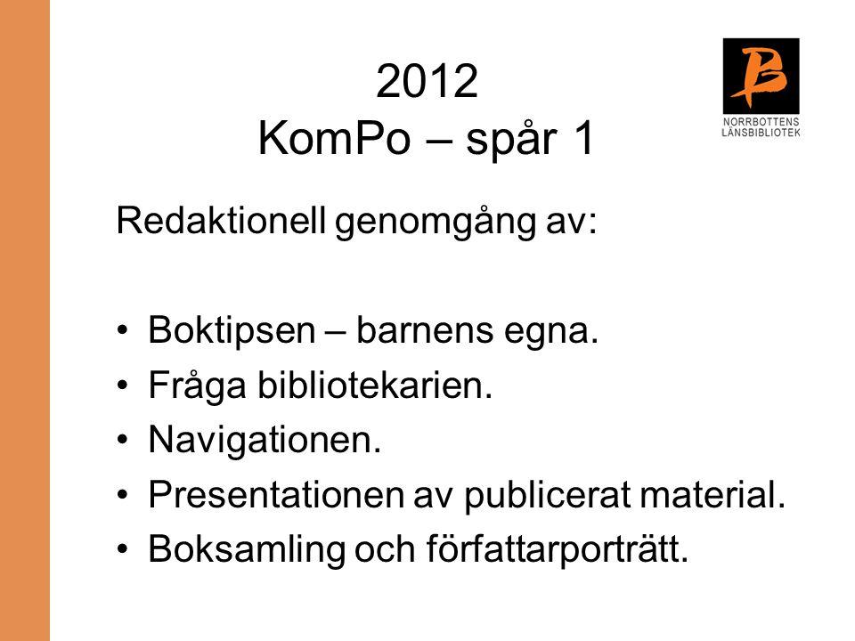 2012 KomPo – spår 1 Redaktionell genomgång av: Boktipsen – barnens egna. Fråga bibliotekarien. Navigationen. Presentationen av publicerat material. Bo