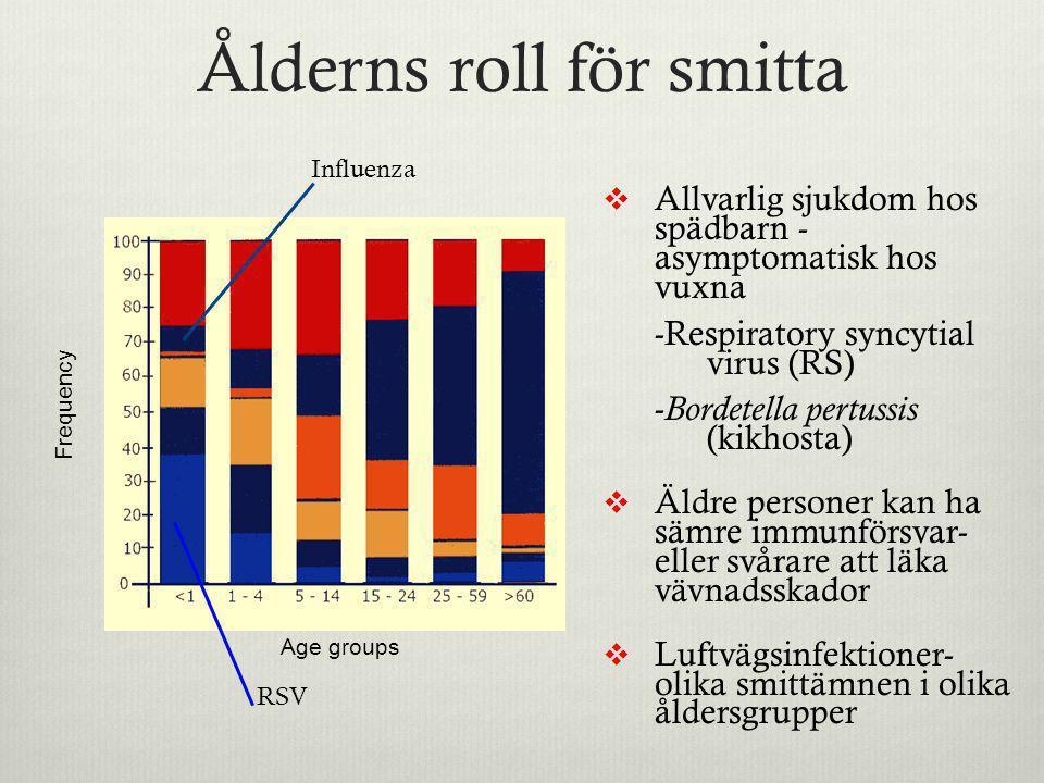 Ålderns roll för smitta  Allvarlig sjukdom hos spädbarn - asymptomatisk hos vuxna -Respiratory syncytial virus (RS) - Bordetella pertussis (kikhosta)