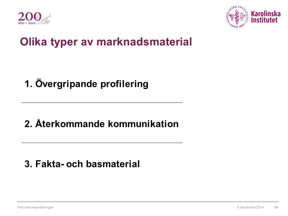 Olika typer av marknadsmaterial 1.Övergripande profilering 2.Återkommande kommunikation 3.Fakta- och basmaterial 9 september 2014Informationsavdelning