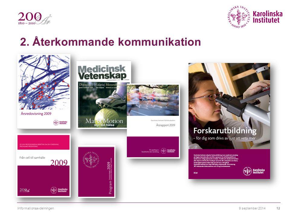 2. Återkommande kommunikation 9 september 2014Informationsavdelningen12