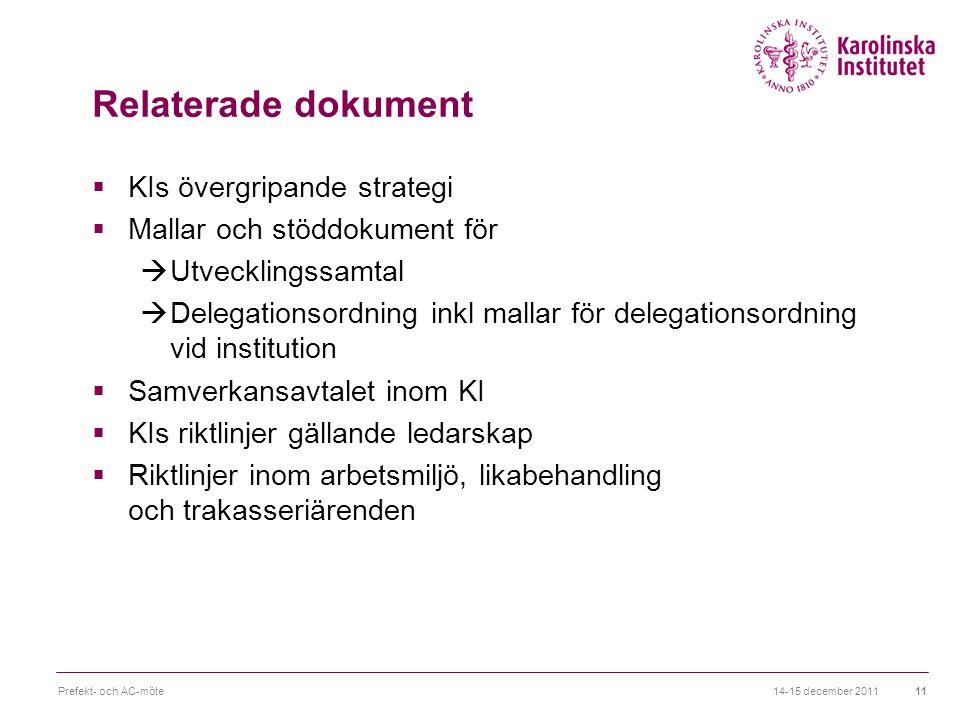 Relaterade dokument  KIs övergripande strategi  Mallar och stöddokument för  Utvecklingssamtal  Delegationsordning inkl mallar för delegationsordn