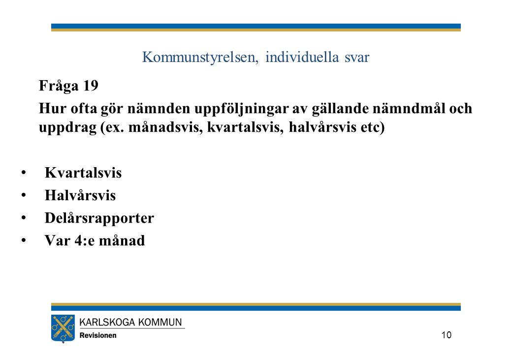 Kommunstyrelsen, individuella svar Fråga 19 Hur ofta gör nämnden uppföljningar av gällande nämndmål och uppdrag (ex.