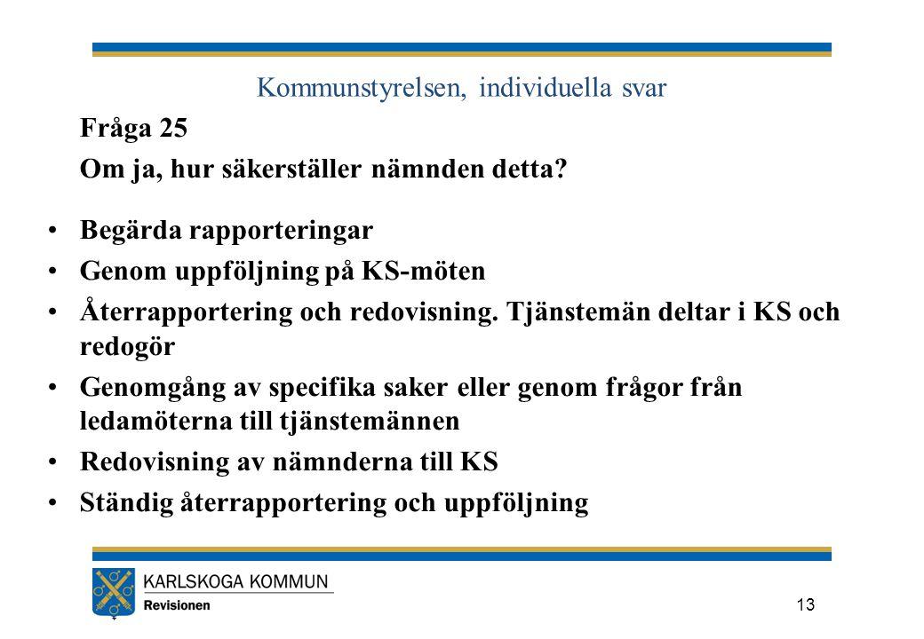 Kommunstyrelsen, individuella svar Fråga 25 Om ja, hur säkerställer nämnden detta.